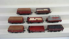 Fleischmann H0 - 5203/5011/1485 - 8 Goods wagons, Open boxcars and one rail cleaning wagon, partly with brakeman's cab of the DB