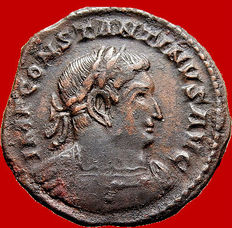 Roman Empire - Constantine I the Great (307-337 A.D.) bronze large follis (3,90 g., 23 mm) Trier mint (310-313 A.D.) SOLI INVICTO COMITI. Radiate bust Sol.