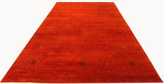 Genuine hand-knotted Indo Gabbeh 3.48 x 2.53 red Oriental carpet, genuine wool, designer carpet, finely made by hand NEW