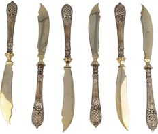 Six silver fish knives, Germany