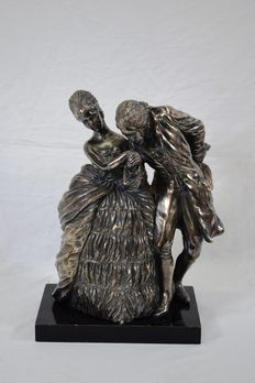 Silver plated metal sculpture - signed - Italy, first half of the 20th century