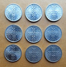 Portugal – Complete Set (9 coins) – 10 Centavos – 1971 to 1979