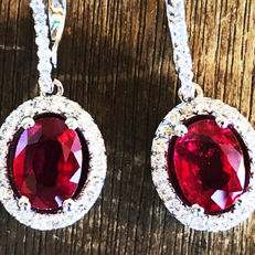 3.78ct Ruby and Diamond Earrings made of 18 kt white gold - NO RESERVE -