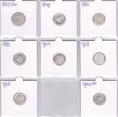 The Netherlands - 10 cent 1827 U, 1849 Willem II, 1881, 1897, 1903, 1918, 1938, 1943PP – silver
