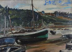 Unknown. (20th century) - Boats in an estuary at low water.
