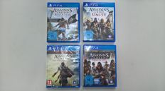 Lot of 4 PS4 - Assasins Creed IV Black Flag , Assasins Creed Unity , Assasins Creed The Ezio Collection and Assasins Creed Syndicate