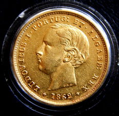Portugal – Luiz I – 5000 Réis of 1862 – Gold