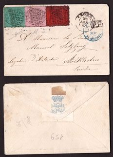 Papal State – 1868 – Envelope with tricolour stamp to Sweden  Sassone no. 30 b; 25 b; 26