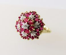 10kt gold cocktail ring with natural rubies & diamonds approx .2.03ct in total, ring size 56