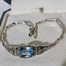 Sterlling sivler bracelet with beautiful synthetic faceted Aquamarine approx. 3.23 ct.