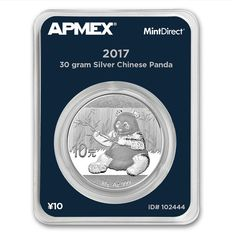 1 oz 999 Silver Coin, MintDirect Certified Quality - 10 Yuan China Panda - With Certificate