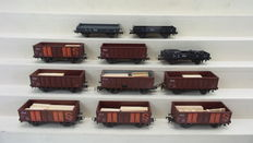 Roco H0 - 4312/4303 - 11 Piece goods wagon set with flatcars and open boxcars of the NS