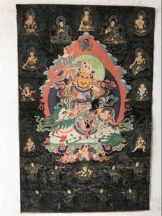 Thangka -Yellow Jambhala -Tibet/Nepal - late 20th century