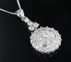 14 kt white gold necklace and 18 kt white gold pendant set with brilliant cut diamonds of approximately 3.40 carat in total