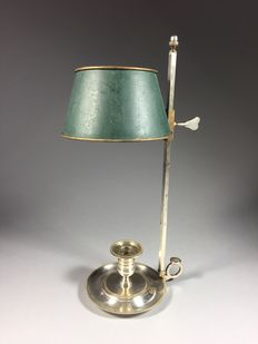 Silver-plated brass 1-light candle bouillotte lamp - France - ca. 1900