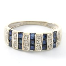 14kt White Gold Ring Set with 0.08 ct Diamonds & 0.75 ct Sapphires Size: 7 - O
