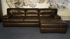 Manufacturer unknown – calfskin leather sofas with chaise