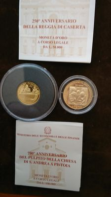 Italy, Republic – 50,000 and 100,000 lire 2001 – diptych with case – gold