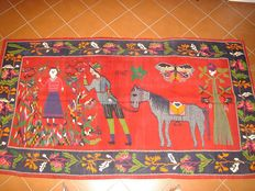Genuine Kilim showing a vintage design. Fabric with visible warp. Dated: 1940 Dimensions: 150 x 278 cm - Azerbaijan, Karabagh