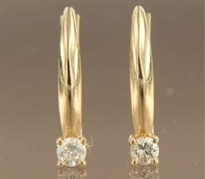 14 kt yellow gold solitaire dangle earrings set with brilliant cut diamond, approx. 0.34 carat in total ***no reserve price***