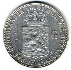 The Netherlands – 1 Guilder 1901 Wilhelmina – silver
