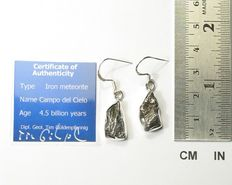 Earrings with meteorite Campo del Cielo / 925 Sterling Silver / new