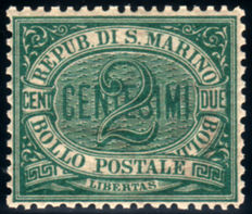 Republic of San Marino 1877, the first stamp 2 cents, green