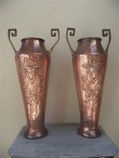 Set of very large hammered copper vases-ca. 1900