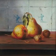 J.a. de Jongh (20th century) Still life - Pears and Lychees