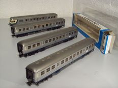 Märklin H0 - 4158/4159/4160 - 4 carriages 'Silberlinge' of the DB, 3x with lighting