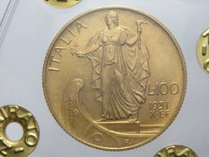 Kingdom of Italy – 100 Lira, 1931 – Year X E.F. Vittorio Emanuele III – Gold