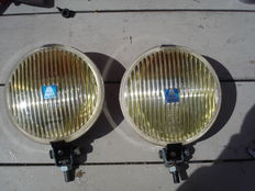 Two nice Rally fog lights of the BRAND HELLA and the type 140 with metal chrome housing from the 1970s and 1980s