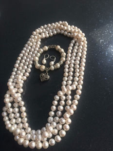 "100"" Long White Freshwater Pearl Necklace - 925 silver - 269gms"