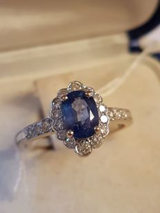 Brilliant 18Kt White Gold Sapphire Ring - Ring Size  13