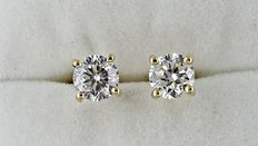1.44 ct round diamond stud earrings 14 kt yellow gold