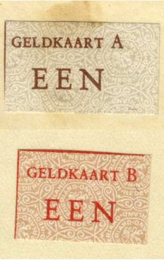 Netherlands - money card A and B on letter - currency reform Lieftinck 1945 (2 pieces)