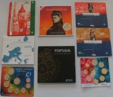 Europe - various sets with Euro coins 2002/2011 (eight different ones)