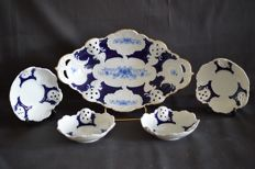 Dresden ceremonial Bowl with 4 candy bowls