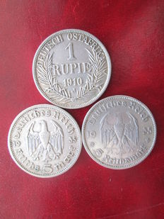 Germany - 1910 - 1 rupee - J Deutsch Ostafrika - 5 marks - 1935 Deutsches Reich - (3 coins)