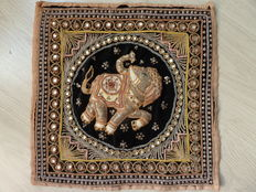 Kalaga, hand-embroidered table piece with gold threads and beads - Burma - mid/second half 20th century
