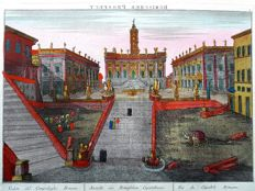 Unknown artist - 2 Optical engravings Piazza del Campidoglio in Rome  & Collège des Quatre-Nations in Paris- c. 18th century