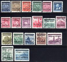 """Bohemia and Mähren 1939 - faces and landscapes, 5H to 10 Kc, Michel 1-19 checked """"Gilbert"""""""