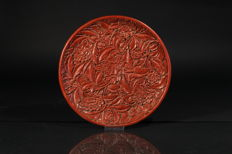 Large cinnabar lacquer plate, China, circa 1910