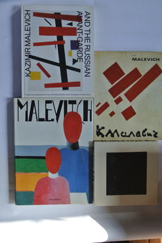 Malevich; Lot with 3 books  +  1  puzzle black square - 1989/2014