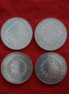 France – 50 Francs 'Hercule' 1974/1979 (lot of 4 coins) – silver