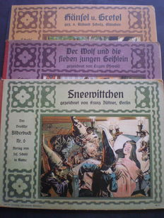 "Fairy tales; Lot with 3 illustrated picture books in the series ""Das Deutsche Bilderbuch"" - c. 1910"