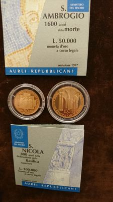 Italy, Republic – 50,000 and 100,000 lire 1997 – diptych with case – gold