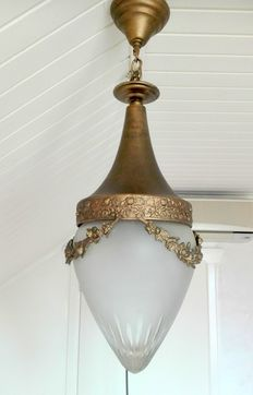 Brass and cut glass chandelier, approx. 1930