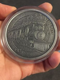 USA - 5 oz - 999 fine silver / silver - The Train - Hobo Nickel Series 1913 - Silver Antique Finish