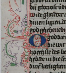 Manuscript; Original leaf from a manuscript written in Haarlem - 1470